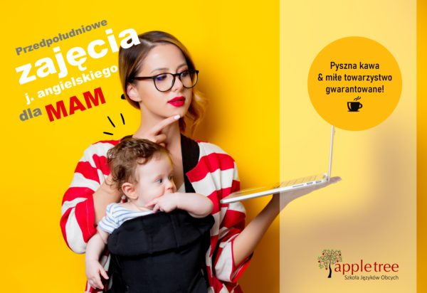 little baby in carrier and mother with laptop computer on yellow background